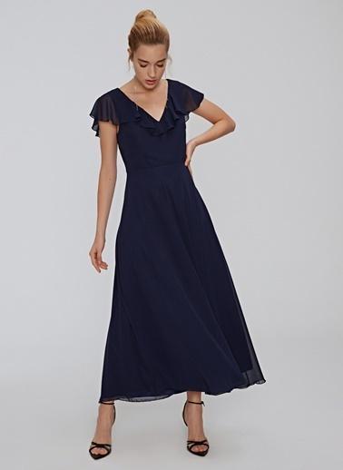 People By Fabrika Volanlı Midi Elbise Lacivert